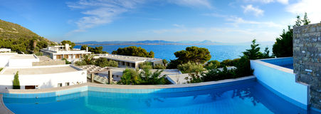 The panorama of sea view swimming pool in the luxury hotel Stock Photo