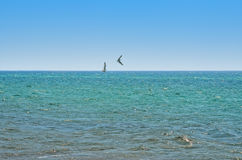 Panorama of sea waves against the blue sky Stock Photo