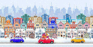 Panorama. seamless border with a winter cityscape Royalty Free Stock Photos