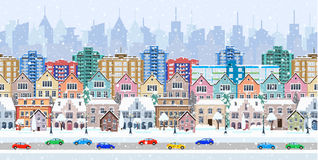 Panorama. seamless border with a winter cityscape Stock Photos