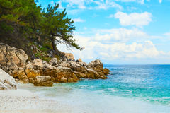 Panorama of seascape with greek Saliara aka Marble Beach, Thassos Island, Greece Royalty Free Stock Image