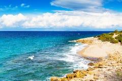 Panorama of seascape, waves and coast, Thassos Island, Greece Stock Photo