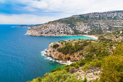 Panorama of seascape, waves and coast, Thassos Island, Greece Royalty Free Stock Photography