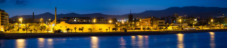 Panorama of seaside of Badalona in evening Royalty Free Stock Images