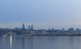 Panorama of seaside boulevard in Baku Azerbaijan stock images