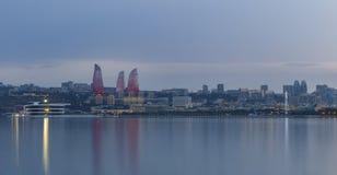 Panorama of seaside boulevard in Baku Azerbaijan Stock Photos