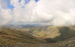 Panorama Seathwaite Tarn Stockbild