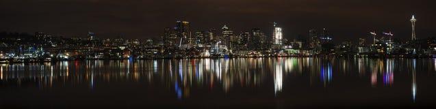 Panorama of Seattle at night Royalty Free Stock Photo