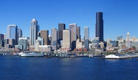 Panorama - Seattle-Ufergegend-Skyline, Lizenzfreie Stockfotos