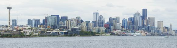 Panorama of the Seattle, Washington Skyline from the Ocean stock images