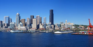 Panorama - Seattle waterfront skyline,with ferry and dockyard Stock Photo