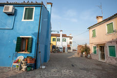 Panorama from a secondary street in burano Island, Venice Stock Images