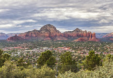 Panorama of  Sedona, Arizona, USA. Overview of Sedona, view to Capital Butte Mountains and Coffee Pot Rock from the Airport Overlook place. Dramatic afternoon Stock Images