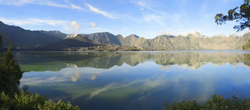 Panorama of Segara Anak on Mount Rinjani crater lake Stock Images