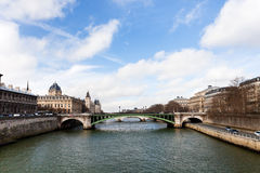 Seine river and Pont d'Arcole in Paris Royalty Free Stock Image