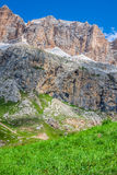 Panorama of Sella mountain range from Sella pass, Dolomites, Ita Royalty Free Stock Image