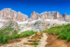 Panorama of Sella mountain range from Sella pass, Dolomites, Ita Stock Photography