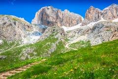 Panorama of Sella mountain range from Sella pass, Dolomites, Ita Stock Photo