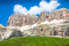 Panorama of Sella mountain range from Sella pass, Dolomites, Ita Stock Photo