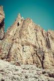 Panorama of Sella mountain range from Sella pass, Dolomites, Italy Stock Image
