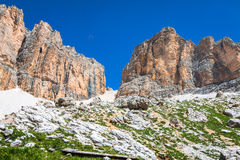 Panorama of Sella mountain range from Sella pass, Dolomites, Italy Stock Image
