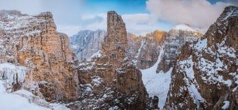 Panorama Sella Ronda Dolomites Italy stockfotografie