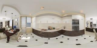 panorama sem emenda da ilustração 3d 360 esféricos da cozinha Foto de Stock Royalty Free