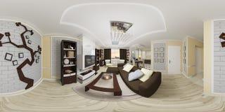panorama sem emenda da ilustração 3d 360 esféricos da sala de visitas a Imagens de Stock Royalty Free
