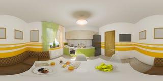 Panorama sem emenda da ilustração do interior da cozinha Fotos de Stock