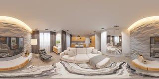 panorama sem emenda do design de interiores da ilustração 3d 360 esféricos Foto de Stock Royalty Free