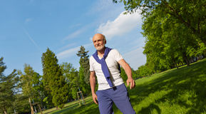 Panorama with senior man in a park Royalty Free Stock Image