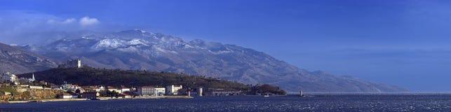 Panorama of Senj. Panorama shot of mediterian town Senj during winter Stock Photos