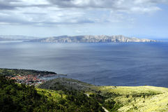 Panorama of Senj, Zengg, Croatia. With Island Prvic in the background Stock Photography