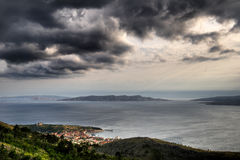 Panorama of Senj, Zengg, Croatia. With Island Prvic in the background Stock Image