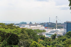 Panorama with Sentosa Island and Cable Car seen from Mount Faber rainforest Royalty Free Stock Images