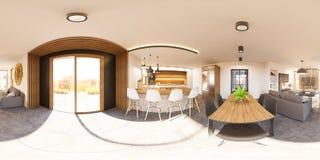 panorama senza cuciture dell'interno 360 dell'illustrazione 3d della casa del salone Fotografie Stock