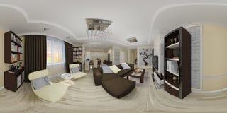 panorama senza cuciture 360 sferici dell'illustrazione 3d del salone a Immagini Stock