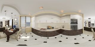 panorama senza cuciture 360 sferici dell'illustrazione 3d della cucina Fotografia Stock Libera da Diritti
