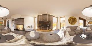 panorama senza cuciture 360 sferici dell'illustrazione 3d di interior design della casa del salone Fotografia Stock