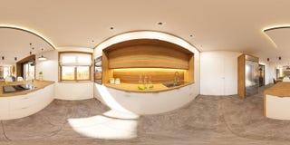 panorama senza cuciture 360 sferici dell'illustrazione 3d di interior design della cucina Fotografie Stock Libere da Diritti