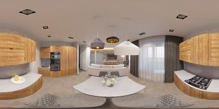 panorama senza cuciture 360 sferici di interior design dell'illustrazione 3d Fotografie Stock Libere da Diritti