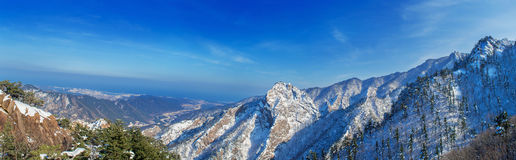Panorama of Seoraksan in winter,Famous mountain in Koreaใ Stock Images