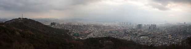 Panorama of Seoul, Korea Royalty Free Stock Image