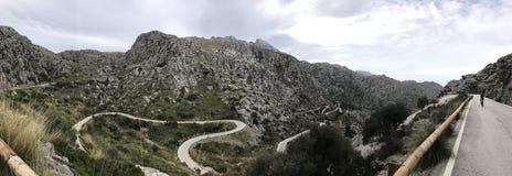 Panorama of serpentine road Sa Calobra, Mallorca royalty free stock photography