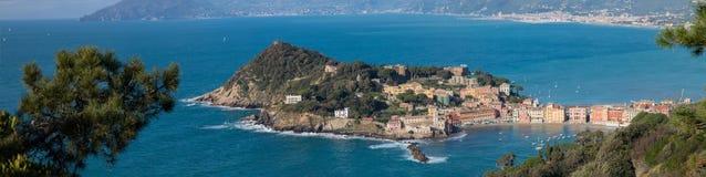 Panorama Sestri Levante Baia Del Silenzio fotografia royalty free