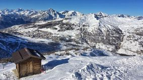 panorama of Sestriere and mountains Royalty Free Stock Photo