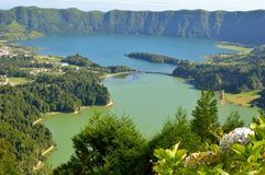 Panorama of Sete Cidades from the hill Stock Photo