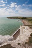 Panorama of Seven Sisters cliffs and the sea in Brighton, Sussex Stock Photo