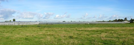 Greenhouse in the Netherlands. Panorama of several greenhouses near the villages of Pijnacker and Delfgauw, South Holland province, the Netherlands stock photo
