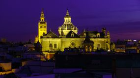 Panorama of Sevilla Spain view Catedral de Sevilla Cathedral, Seville stock photo